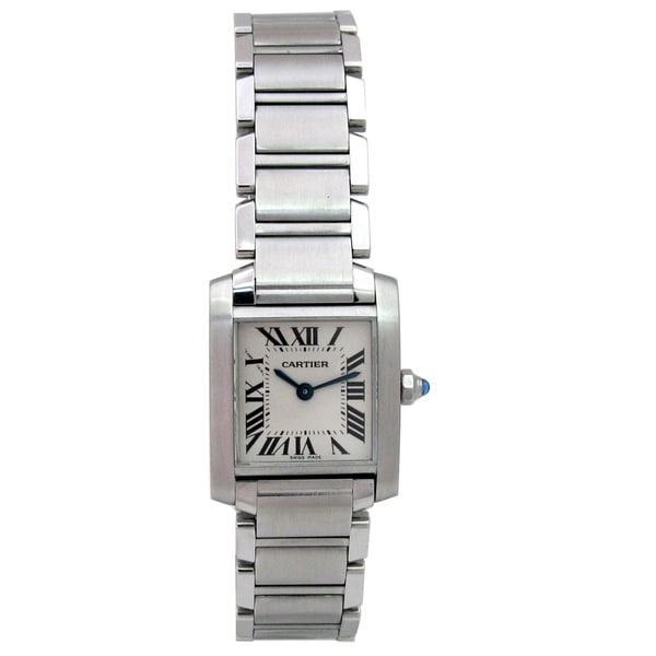 3c823fc6c3314 Pre-owned Lady Cartier Stainless Steel Tank Francaise Watch with Silver Dial
