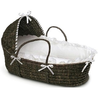 Espresso Hooded Moses Basket in White (As Is Item)