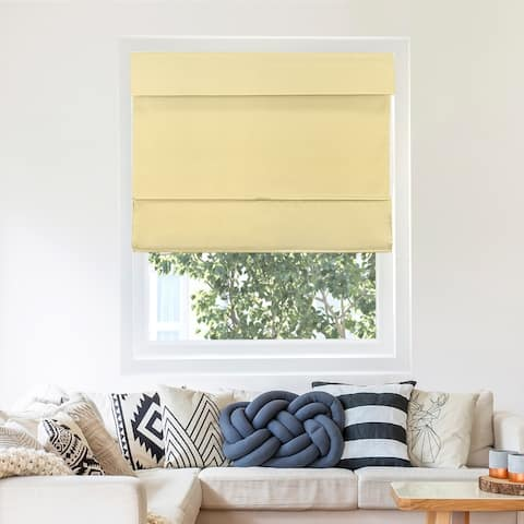 """Chicology Cordless Magnetic Roman Shade, Mountain - Thermal, Room Darkening - Mountain Almond - 27 x 64 - 16 - 29"""" (As Is Item)"""