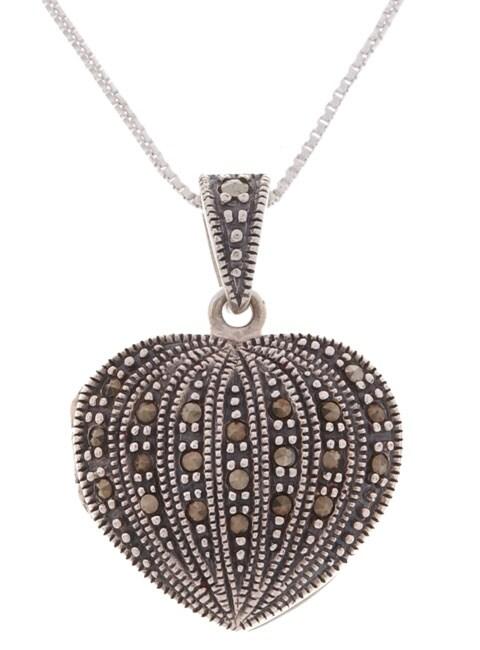 Glitzy Rocks Sterling Silver Marcasite Heart Locket Pendant