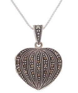 Glitzy Rocks Sterling Silver Marcasite Heart Locket Pendant