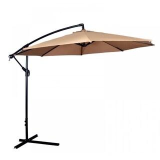 Tan Patio Umbrella Offset 10' Hanging Umbrella Outdoor Market Umbrella