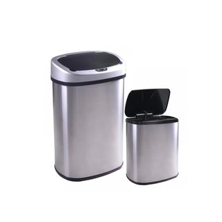 New 13 and 2.4 Gallon Touch-Free Sensor Automatic Stainless-Steel Trash Can