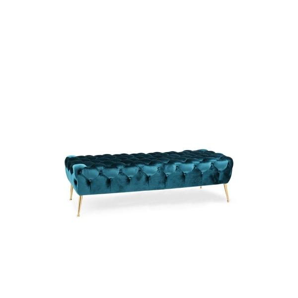 Shop Nitro Tufted Teal Blue Velvet Bench With Gold Legs
