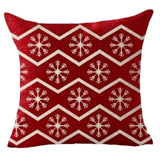 Cotton Linen Pillow Case Christmas Wreath Red 18 x 18