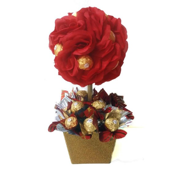 American Beauty Ferrero Rocher Topiary Candy Bouquet - Ships To ...
