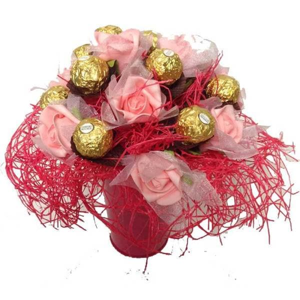 Shop Pink Roses Ferrero Rocher Candy Bouquet - Free Shipping On ...