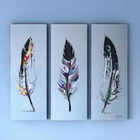 Porch & Den 'Feathers' 3-piece Hand-painted Oil on Canvas
