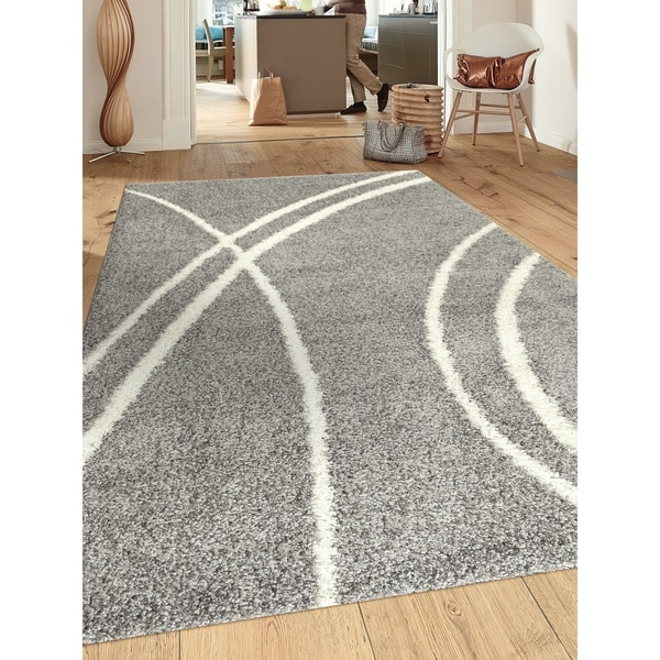 Porch & Den Marigny Rampart Soft Stripe Grey White Indoor Shag Area Rug (7'10 x 10)