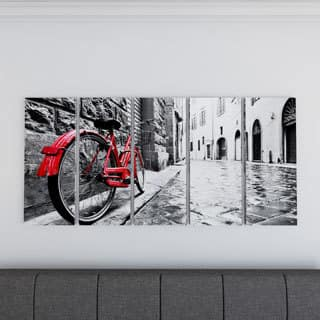 Porch & Den 'Retro Vintage Red Bike' Cityscape Photography Canvas Print|https://ak1.ostkcdn.com/images/products/18729382/P18972919.jpg?impolicy=medium