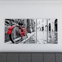 Carbon Loft 'Retro Vintage Red Bike' Cityscape Photography Canvas Print