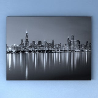 Carbon Loft 'Chicago Skyline at Night' Black and White Cityscape Canvas Print