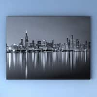 Porch & Den 'Chicago Skyline at Night' Black and White Cityscape Canvas Print