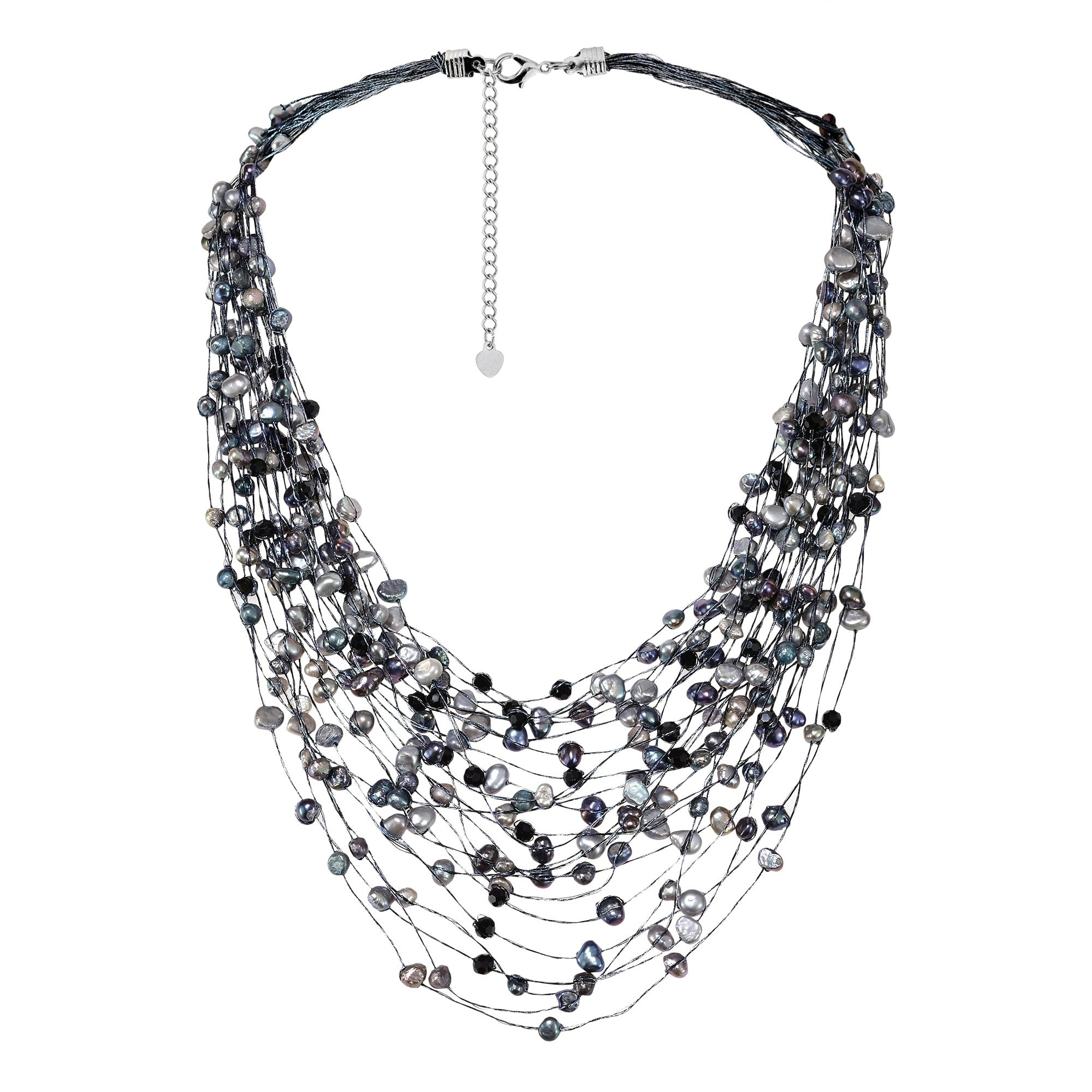 60bbe4cae5886 Handmade Black Grey Pearl Crystal Silk Layered Multi Strand Necklace  (Thailand)