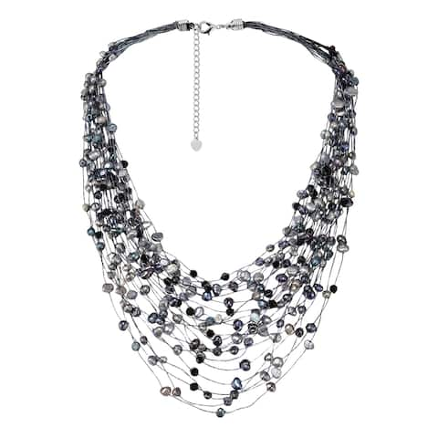 Handmade Black Grey Pearl Crystal Silk Layered Multi Strand Necklace (Thailand)