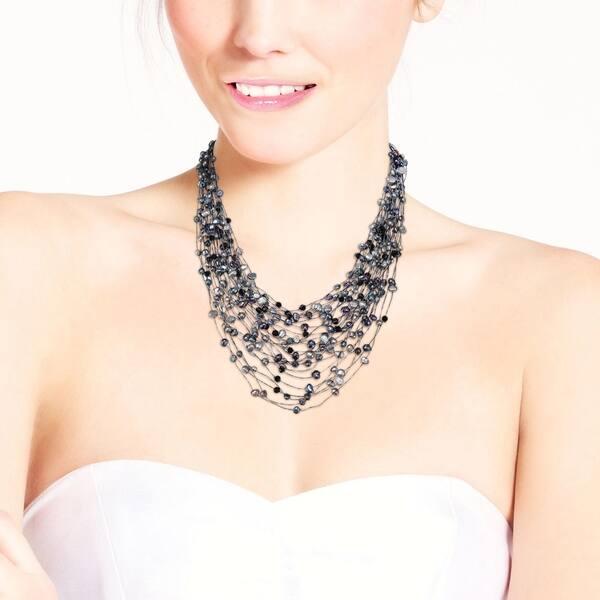 cf9b4cb6ba14d Shop Handmade Black Grey Pearl Crystal Silk Layered Multi Strand ...