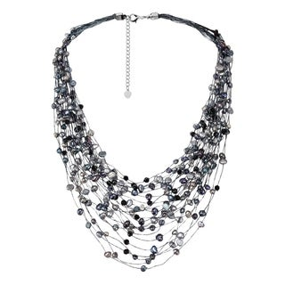 Black Grey Pearl Crystal Silk Layered Multi Strand Necklace (Thailand)