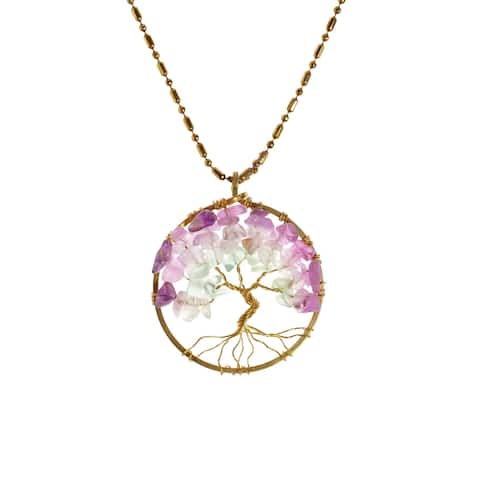 38mm Sacred Charisma Tree of Life Fluorite Brass Necklace (Thailand)