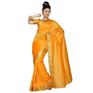Pumpkin Art Silk Saree Sari fabric India Golden Border