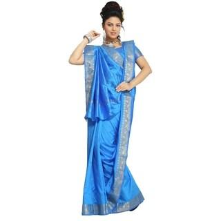 Island Blue Art Silk Saree Sari fabric India Golden Border
