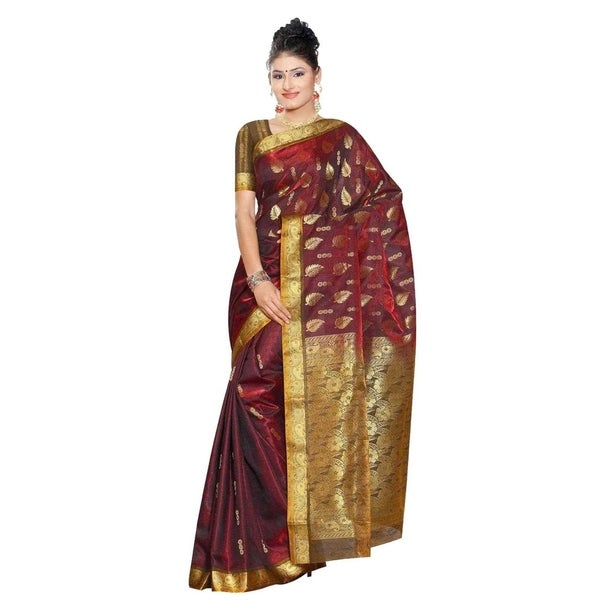 268308632ff5e6 Shop Maroon Gold Leaf South Indian fancy Art Silk Sari Saree bellydance  wrap - Free Shipping Today - Overstock - 18729851