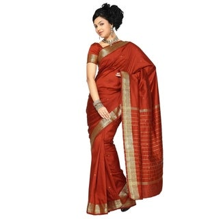 Rust Art Silk Saree Sari fabric India Golden Border