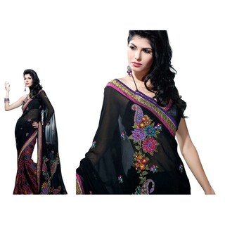 Rani Black Bollywood Georgette with brasso Designer Party Wear Sari saree