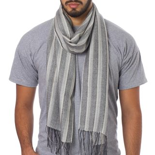 Handmade Men's Alpaca Blend 'Manly Stripes' Wrap Scarf (Peru)
