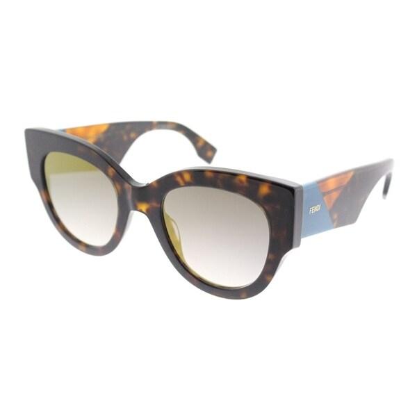 2fc3ab52561e Fendi Cat-Eye FF 0264 086 Womens Dark Havana Frame Gold Mirror Lens  Sunglasses