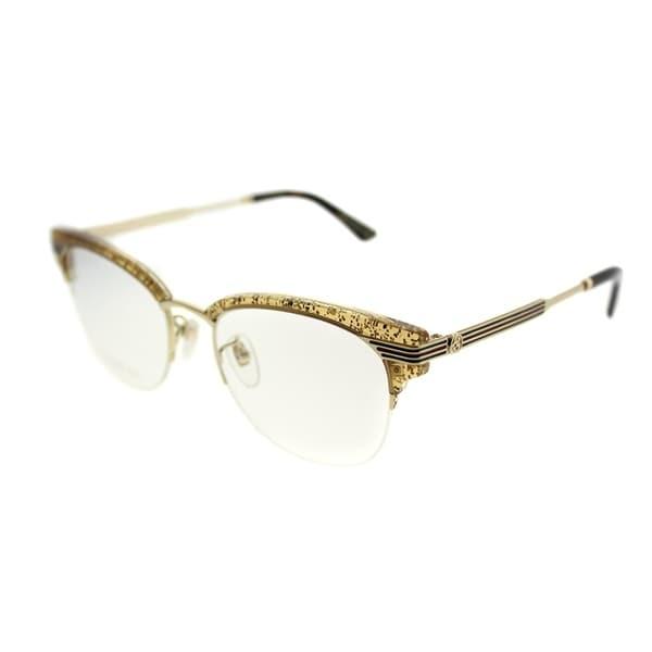 95e9ac4a3a212 Gucci Clubmaster GG 0201O 004 Women Gold Glitter Frame Eyeglasses