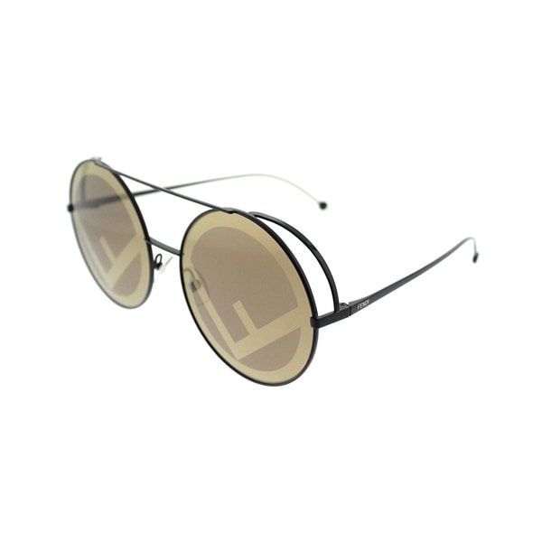 3666caba68a63 Fendi Round FF 0285 09Q Womens Brown Frame Gold Mirror Lens Sunglasses
