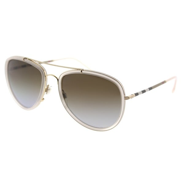5859b193476 Burberry Aviator BE 3090Q 1246T5 Unisex Pink Brushed Gold Frame Brown  Gradient Polarized Lens Sunglasses