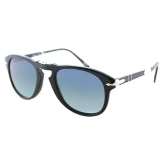 Persol Foldable PO 714SM 95/S3 Unisex Shiny Black Frame Blue Gradient Polarized Lens Sunglasses