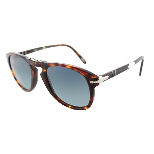 479a83caa6 Persol Foldable PO 714SM 24 S3 Unisex Havana Frame Blue Gradient Polarized  Lens Sunglasses