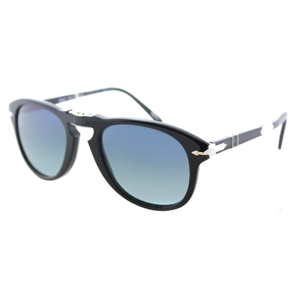 002bfb39a3b8 Persol Foldable PO 714SM 95/S3 Unisex Shiny Black Frame Blue Gradient  Polarized Lens Sunglasses