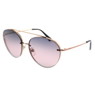 Valentino Pilot VA 2009 3004E6 Womens Rose Gold Frame Gradient Blue Pink Mirror Lens Sunglasses