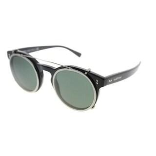 Valentino Round VA 4009CB 500171 Womens Black Frame Green Lens Sunglasses