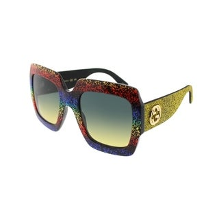 Gucci Square GG 0102S 005 Women Multicolor Sparkle Frame Grey Lens Sunglasses