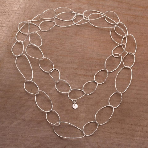 Handmade Twisting Links Sterling Silver Necklace (Indonesia)