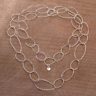 Handmade Sterling Silver 'Twisting Links' Necklace (Indonesia)|https://ak1.ostkcdn.com/images/products/18730364/P24805811.jpg?impolicy=medium
