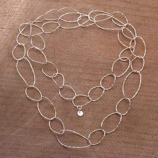 Handmade Sterling Silver 'Twisting Links' Necklace (Indonesia)