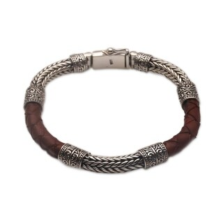 Handmade Men's Sterling Silver Leather 'Royal Weave in Brown' Bracelet (Indonesia)