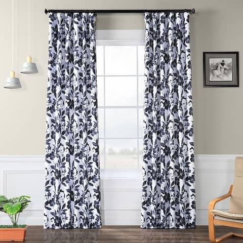 Exclusive Fabrics Hibiscus Blue Blackout Curtain Panel Pair