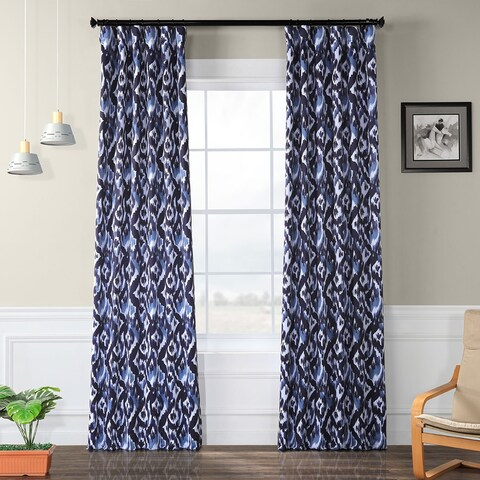 Exclusive Fabrics Bukhara Blue Blackout Curtain Curtain Panel Pair