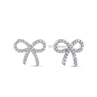 10K White Gold 1/3ct TDW Diamond Bow Stud Earrings (G-H, I2-I3)