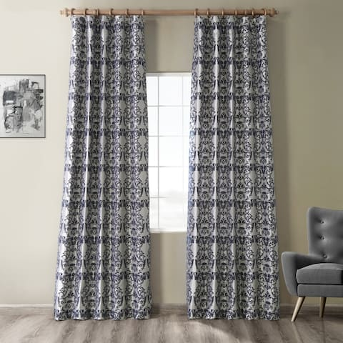 Exclusive Fabrics Firenze Silver & Blue Flocked Faux Silk Curtain
