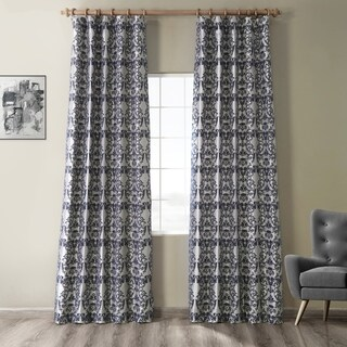 Exclusive Fabrics Firenze Silver & Blue Flocked Faux Silk Curtain