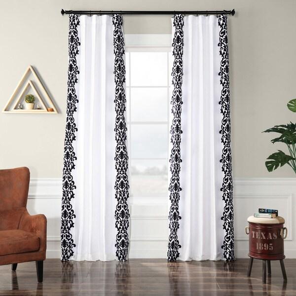 Exclusive Fabrics Castle White & Black Flocked Faux Silk Curtain