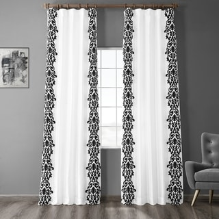 Link to Exclusive Fabrics Castle White & Black Flocked Faux Silk Curtain Similar Items in Curtains & Drapes