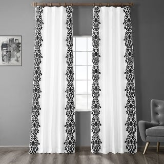Exclusive Fabrics Castle White & Black Flocked Faux Silk Curtain